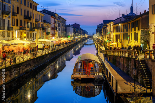 City on the water Milan city, Italy, Naviglo Grande canal in the late evening
