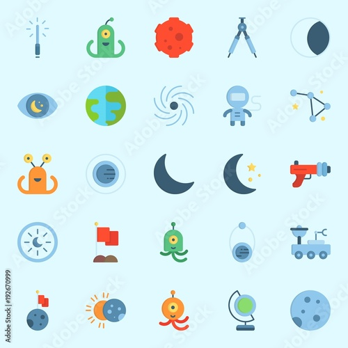 Photo  Icons about Universe with orbit, constellation, alien, blaster, earth glope and