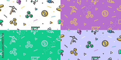 Crypto Blockchain Seamless Pattern Icon Cryptocurrency Bitcoin