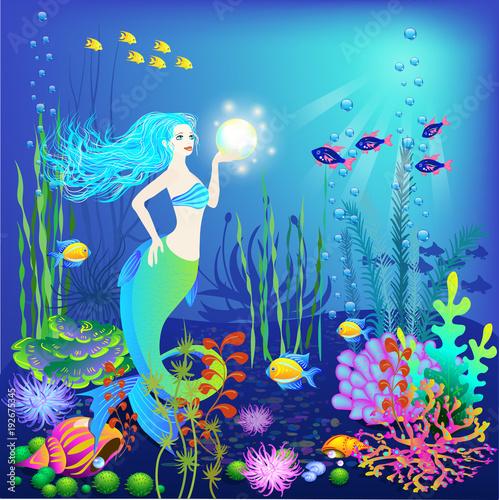 Foto op Plexiglas Zeemeermin Underwater world, little mermaid, fishes, sea plants and a pearl