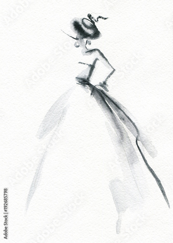 Abstract woman dress. Fashion illustration.