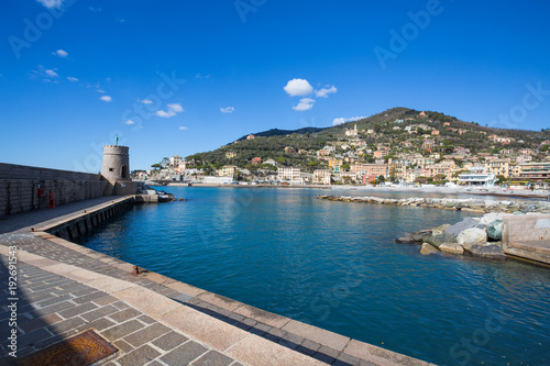 Printed kitchen splashbacks City on the water RECCO, ITALY, FEBRUARY 13, 2018 - View of city of Recco , Genoa (Genova) Province, Liguria, Mediterranean coast, Italy