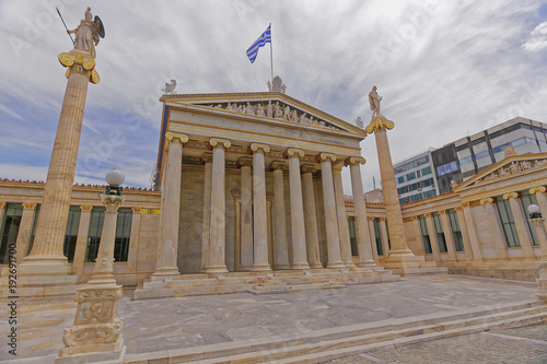 Foto op Plexiglas Historisch geb. Athens Greece, the national academy with Athena and Apollo statues