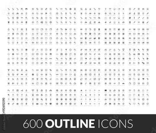 Photo Large icons set, 600 outline black vector pictogram