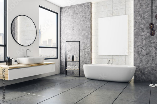 Modern bathroom with blank banner Fototapeta