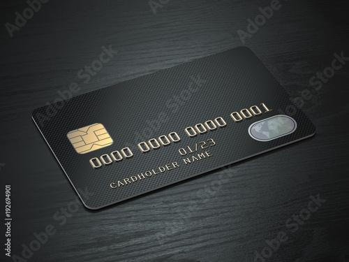 Fotografía  Black blank credit cards mockup on black wood table background.