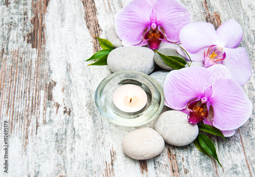 Keuken foto achterwand Spa Spa products with orchids