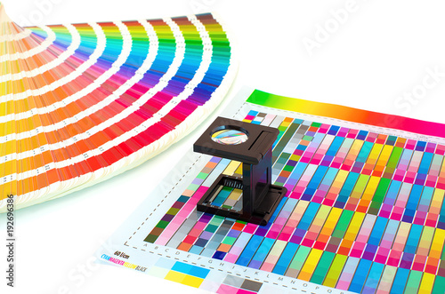 Magnifying Glass On Printed Color Swatch Isolated White Management In Printing Process With