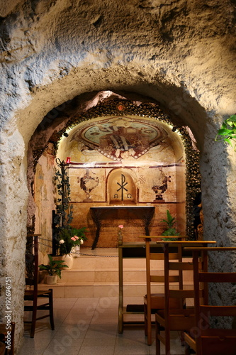 Cave Church where statue of Fatima is in Budapest Hungary