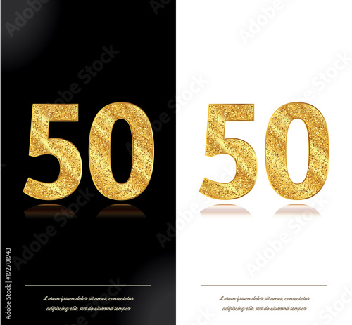 Photo  50 years anniversary black and white decorated cards with golden elements