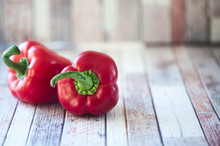 Juicy Red Peppers On A Natural...