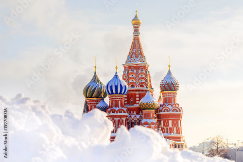 plakat Winter view St. Basil's Cathedral in Moscow