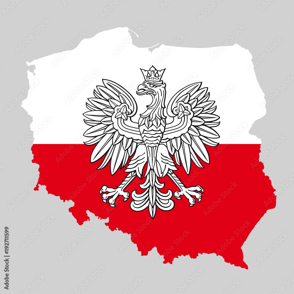 Fototapeta Poland map with eagle and white red polish flag