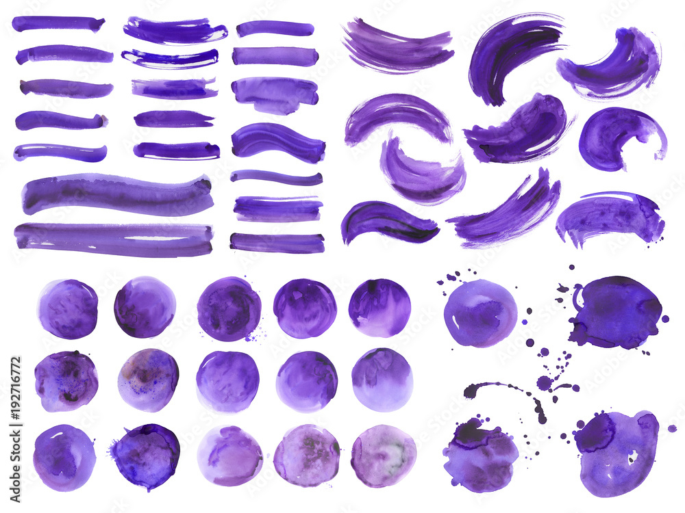 Fototapety, obrazy: Big bundle of watercolor ultra violet brushstrokes, spots and streaks. Isolated on white background. High quality.