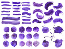 Big Bundle Of Watercolor Ultra Violet Brushstrokes, Spots And Streaks. Isolated On White Background. High Quality.