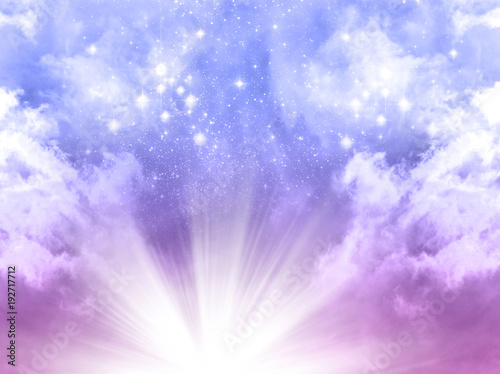 Fotografiet  mystical divine angelic sky background with divine light and stars in blue, purp