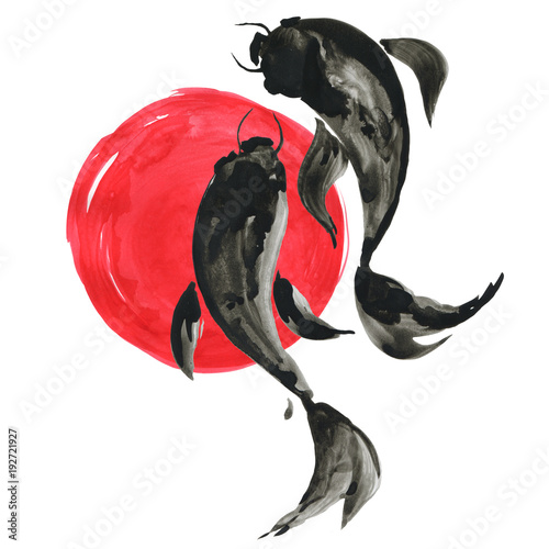 Koi fishes and red sun in Japanese style. Watercolor illustration