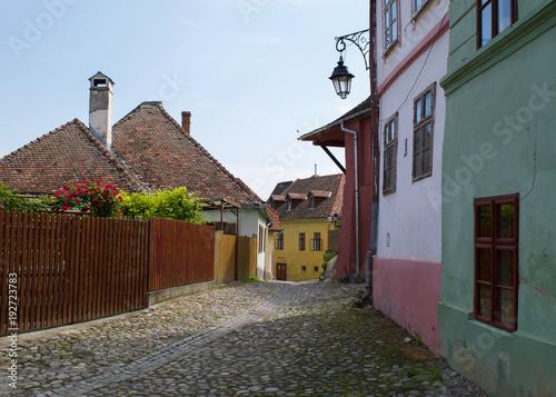 Fotografie, Obraz  Cobblestone streets in the medieval Transylvanian citadel of Sighisoara, Romania