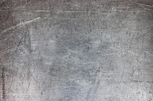 Fototapeta Old metal sheet background, brushed silver surface of iron obraz na płótnie