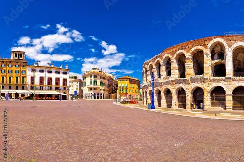 Roman amphitheatre Arena di Verona and Piazza Bra square panoramic view Canvas Print