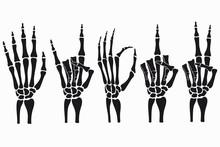 Skeleton Hand Gestures Set. Co...