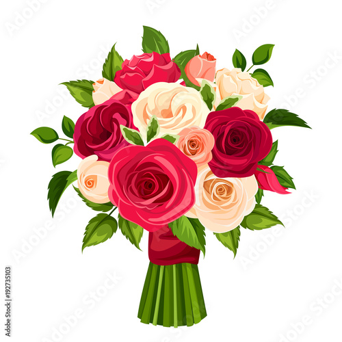 Vector bouquet of red, orange and white roses isolated on a white background Canvas Print