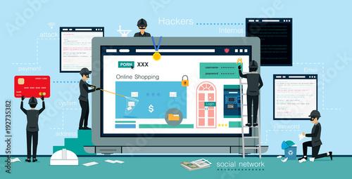 Fotografía  Hackers steal computer data and money information.