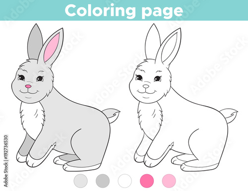 Coloring page outline for kids. Cartoon rabbit. Easter bunny ...