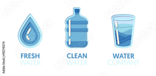 Paper Cut Out Logo Template Set With Clean Water Origami Healthy