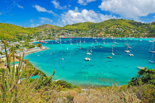 View of Admiralty bay with harbor from Hamilton Fort on Bequia Island, Caribbean Canvas Print