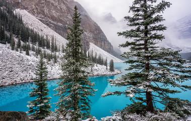 Fototapeta Zima Autumn Snow at Lake Moraine in Banff National Park