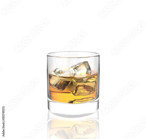 Poster Alcohol glass of whiskey with ice with white background