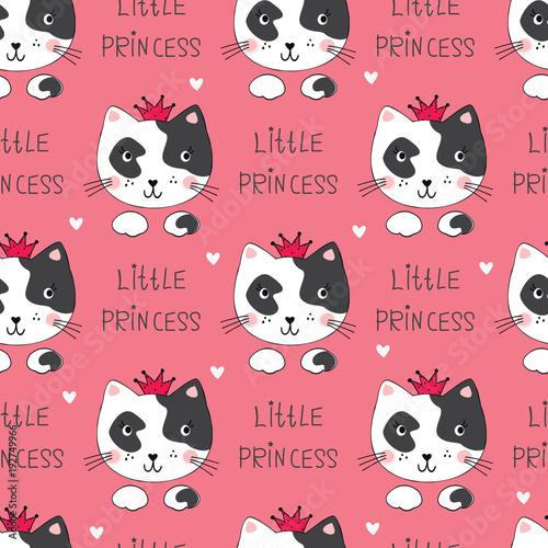 Bezszwowy wzór z ślicznymi kotami