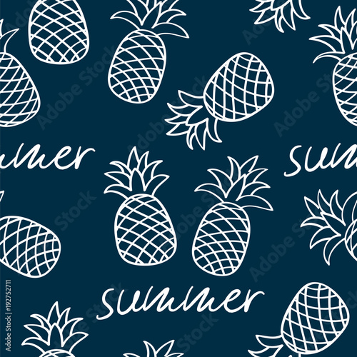 Cotton fabric Seamless pattern with pineapples for textile, wallpapers, gift wrap and scrapbook. Vector illustration.