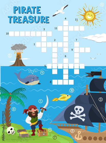 Tuinposter Op straat Pirate treasure adventure crossword puzzle maze education game for children about pirates find map sea labyrinth vector illustration
