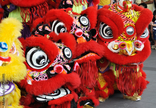 Fotografie, Tablou  Chinese lion mask or lion head used to performed lion dance during Chinese New Year Festival at Seremban, Malaysia