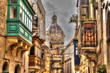 Streets of Malta, balconies and cathedral