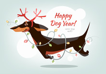 Funny And Cheerful Dachshund Jumps With Horns And A Garland In The Teeth