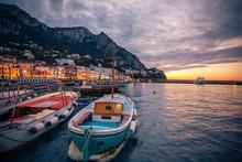 Boats In Marina Grande On Capri Island