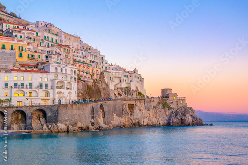 Poster Mediterranean Europe Sunset at Amalfi