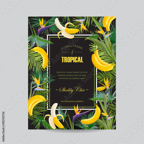 Summer Floral Greeting Card With Tropical Flowers Palm Leaves And Banana Wedding Invitation Template Poster Cover Vector Illustration Buy This Stock Vector And Explore Similar Vectors At Adobe Stock Adobe Stock With this in mind, it is only natural for you to use leaves as one of the. adobe stock