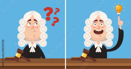 Photo Thinking and having good idea judge character mascot