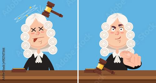 Photo Judge character mascot. Vector flat cartoon illustration set