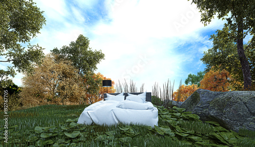 dormire all'aperto, camping, letto nel bosco, illustrazione 3d Wallpaper Mural