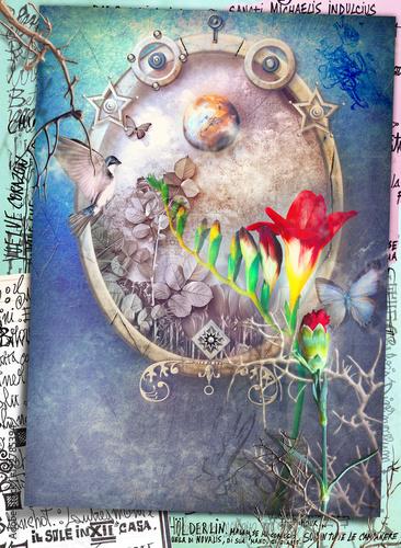 Poster Imagination Finestra incantata su uno scenario surreale con fiori rossi tropicali