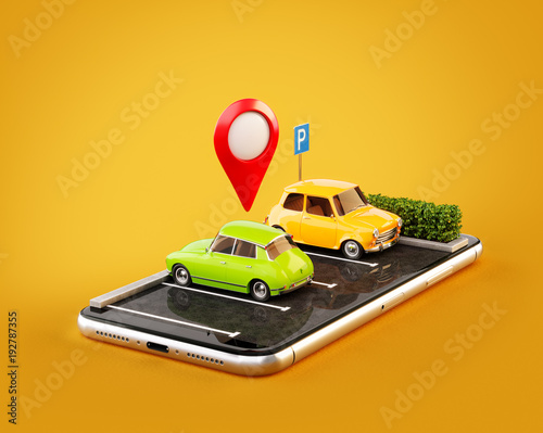 Unusual 3d illustration os smartphone application for online