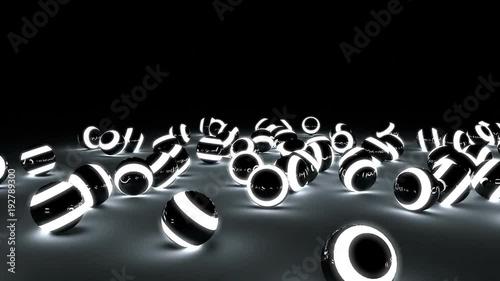 Many glowing balls rolling in all directions. High quality animation.