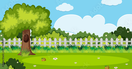 Poster Lime groen Background scene with tree and white fence in garden