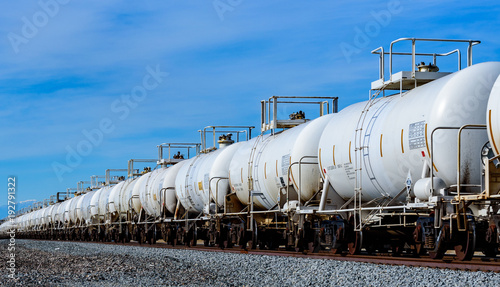 Set of train tanks with oil and fuel transport by rail Wallpaper Mural
