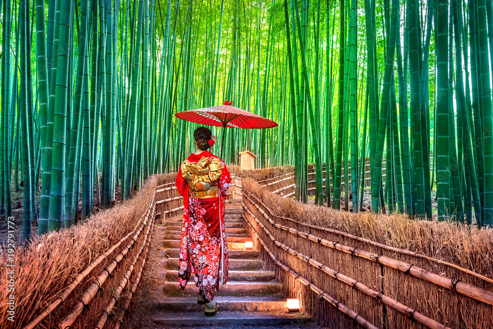 Fototapeta Bamboo Forest. Asian woman wearing japanese traditional kimono at Bamboo Forest in Kyoto, Japan.